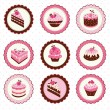 Stock Vector: Set of cakes stickers