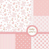 Set of baby girl seamless patterns — 图库矢量图片