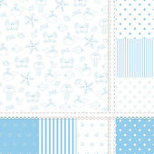 Set of sea seamless patterns — Stock Vector