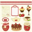 Set of strawberry design elements — Stock Vector