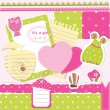 Stock Vector: Baby girl scrapbook set