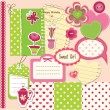 Stock Vector: Scrapbook baby girl set
