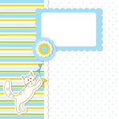 Baby shower with cat — Stock Vector
