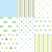 Set of baby boy seamless patterns — Stock Vector