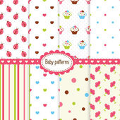 Set of baby patterns — Stock Vector