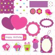 Birthday scrapbook set — Stock Vector