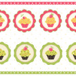 Set of cake stickers — Stock Vector