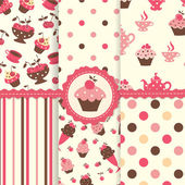 Set of cake patterns — Stock Vector
