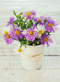 Bouquet of bright wildflowers in bucket — Stock Photo