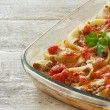 Conchiglioni pasta stuffed with mincemeat — Stock Photo