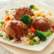 Stock Photo: Meatballs with rice and vegetables