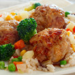 Meatballs with rice and vegetables — Stock Photo #37596005