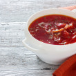 Traditional Russian and Ukrainian borscht — Stock Photo