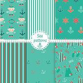 Set of sea patterns — Stock Vector