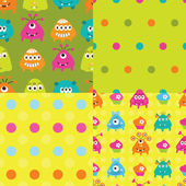 Set of patterns with monsters — Stock Vector