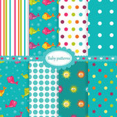 Set of baby seamless patterns — Stock Vector