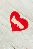 Valentines Day background with lollipop heart — Stok fotoğraf