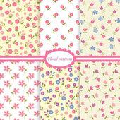 Set of flower seamless patterns — Stock Vector