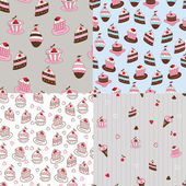 Set of cake seamless patterns — Stock Vector