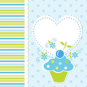 Baby background with cupcake — Stock Vector