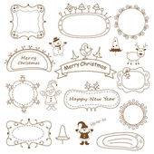 Set of doodle Christmas frames — Vettoriale Stock