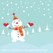 雪だるまのクリスマスのグリーティング カード — ストックベクタ