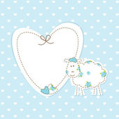 Baby blue background with sheep — Stock Vector