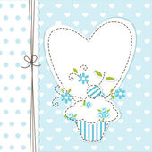Sfondo blu cupcake — Vettoriale Stock