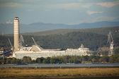 Shipyard with big chimney — Stock Photo