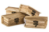 Locked wooden chests, isolated on white background — Stock Photo