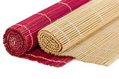 Bamboo mats for asian food, isolated on white background — Stok fotoğraf