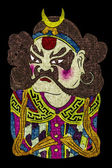 Masque d'opéra de tradition chinoise, isolée sur fond noir — Photo
