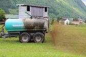 Farmer Spreading Liquid Manure — Stock Photo
