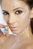 Picture of lovely woman with diamond heart — Stock Photo