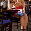 Waitress girl of commercial restaurant in uniform  — Foto de Stock