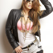 Stock Photo: Beautiful adult sensuality womin black jacket and sunglasses