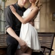 Portrait of young couple in love posing — Stok fotoğraf