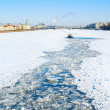 Icebreaking tug in Neva river — Stock Photo