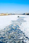 Icebreaking tug in Neva river — Stock Photo