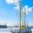 Sailing vessel against port — Stock Photo