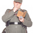 Man in clothes of German soldier — Stock Photo