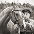 Infantry sergeant and horse — Stock Photo
