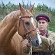 Stock Photo: Infantry sergeant and horse