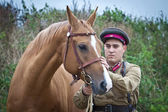 Infantry sergeant and horse — ストック写真