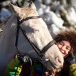 Stock Photo: Girl and horse