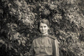 Young woman in Red Army form — Stock Photo