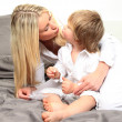 Mother son bed — Stock Photo