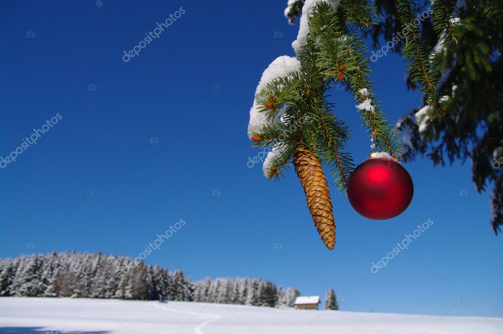 Red bauble christmas ball ornament outside in a snowy winter scene — Zdjęcie stockowe #13962052