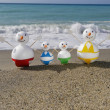Snowman beach vacation - Stock Photo
