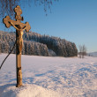 Cross in winter — Stock Photo